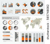 world map infographic. vector... | Shutterstock .eps vector #585748082