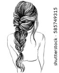 woman with unique braided... | Shutterstock .eps vector #585749315