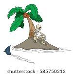 cartoon desert island with a...