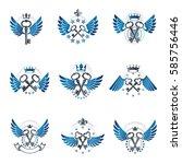old turnkey keys emblems set.... | Shutterstock .eps vector #585756446