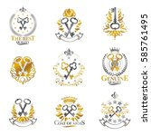 old turnkey keys emblems set.... | Shutterstock .eps vector #585761495