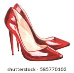 Red Female Shoes   Watercolor...