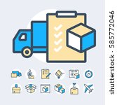delivery and shipment icons set | Shutterstock .eps vector #585772046