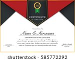 certificate template with... | Shutterstock .eps vector #585772292