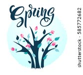 spring illustration with bright ... | Shutterstock .eps vector #585772682
