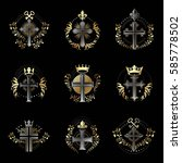 christian crosses emblems set.... | Shutterstock .eps vector #585778502