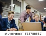 teen students are working on a... | Shutterstock . vector #585788552