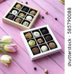 bouquet of tulips and handmade... | Shutterstock . vector #585790088
