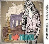 lovely girl in sketch style on... | Shutterstock .eps vector #585792002