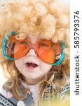 funny portrait of three years... | Shutterstock . vector #585793376