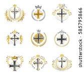 christian crosses emblems set.... | Shutterstock .eps vector #585795866