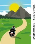 riding a motorcycle in... | Shutterstock .eps vector #585797906