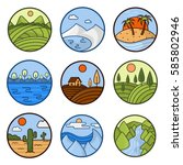 nature landscape vector icons... | Shutterstock .eps vector #585802946