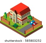 3d design for house with walls... | Shutterstock .eps vector #585803252