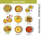 french cuisine food dishes for... | Shutterstock .eps vector #585803612