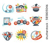 bingo lotto win icons set of... | Shutterstock .eps vector #585805046