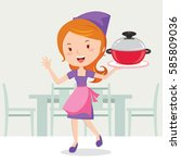 young woman holding cooking pot  | Shutterstock .eps vector #585809036