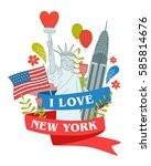 vector poster of new york.... | Shutterstock .eps vector #585814676