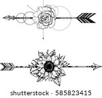 beautiful boho elements .arrows ... | Shutterstock .eps vector #585823415