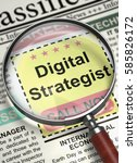Stock photo digital strategist closeup view of job vacancy in newspaper with magnifying glass newspaper with 585826172