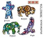 vector wild animals set... | Shutterstock .eps vector #585827156