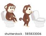 monkey sitting on the toilet...
