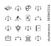 law and justice icons. judicial ... | Shutterstock .eps vector #585842516