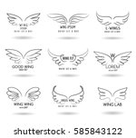 hand drawn wings logo set.... | Shutterstock .eps vector #585843122
