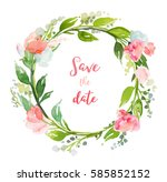 summer wreath with flowers and... | Shutterstock . vector #585852152