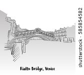rialto bridge greeting card ... | Shutterstock .eps vector #585854582