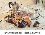 a coffee pot  a sugar bowl  a... | Shutterstock . vector #585856946