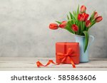 red tulip flowers bouquet and... | Shutterstock . vector #585863606