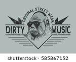 music fan gorilla in headphones.... | Shutterstock .eps vector #585867152