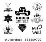 wild west. set of vintage rodeo ... | Shutterstock . vector #585869702