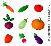 set of fresh ripe vegetables.... | Shutterstock .eps vector #585883442