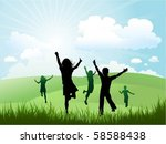 children playing outdoors | Shutterstock .eps vector #58588438