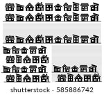 row of a simple house  ... | Shutterstock .eps vector #585886742