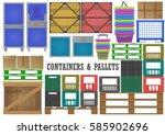 vector set of flat wood ... | Shutterstock .eps vector #585902696