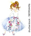 princess watercolor illustration | Shutterstock . vector #585904496