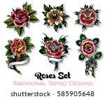 vector traditional tattoo roses ... | Shutterstock .eps vector #585905648