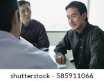 three executives having a... | Shutterstock . vector #585911066