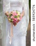 beautiful wedding bouquet in... | Shutterstock . vector #585924776