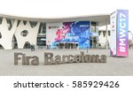 Small photo of BARCELONA - FEBRUARY 23: outdoor entrance of Mobile World Congress 2017 on February 23, 2017, Barcelona, Spain.