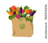paper bag with healthy foods ... | Shutterstock .eps vector #585935696