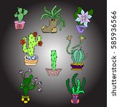 set of cactus. | Shutterstock .eps vector #585936566