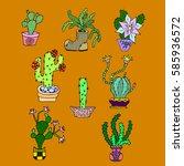 set of cactus. | Shutterstock .eps vector #585936572