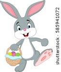 cute rabbit holding easter... | Shutterstock .eps vector #585941072