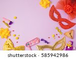 purim holiday concept with... | Shutterstock . vector #585942986