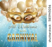 carnival party mask holiday... | Shutterstock .eps vector #585945056