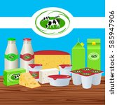 vector illustration. dairy... | Shutterstock .eps vector #585947906